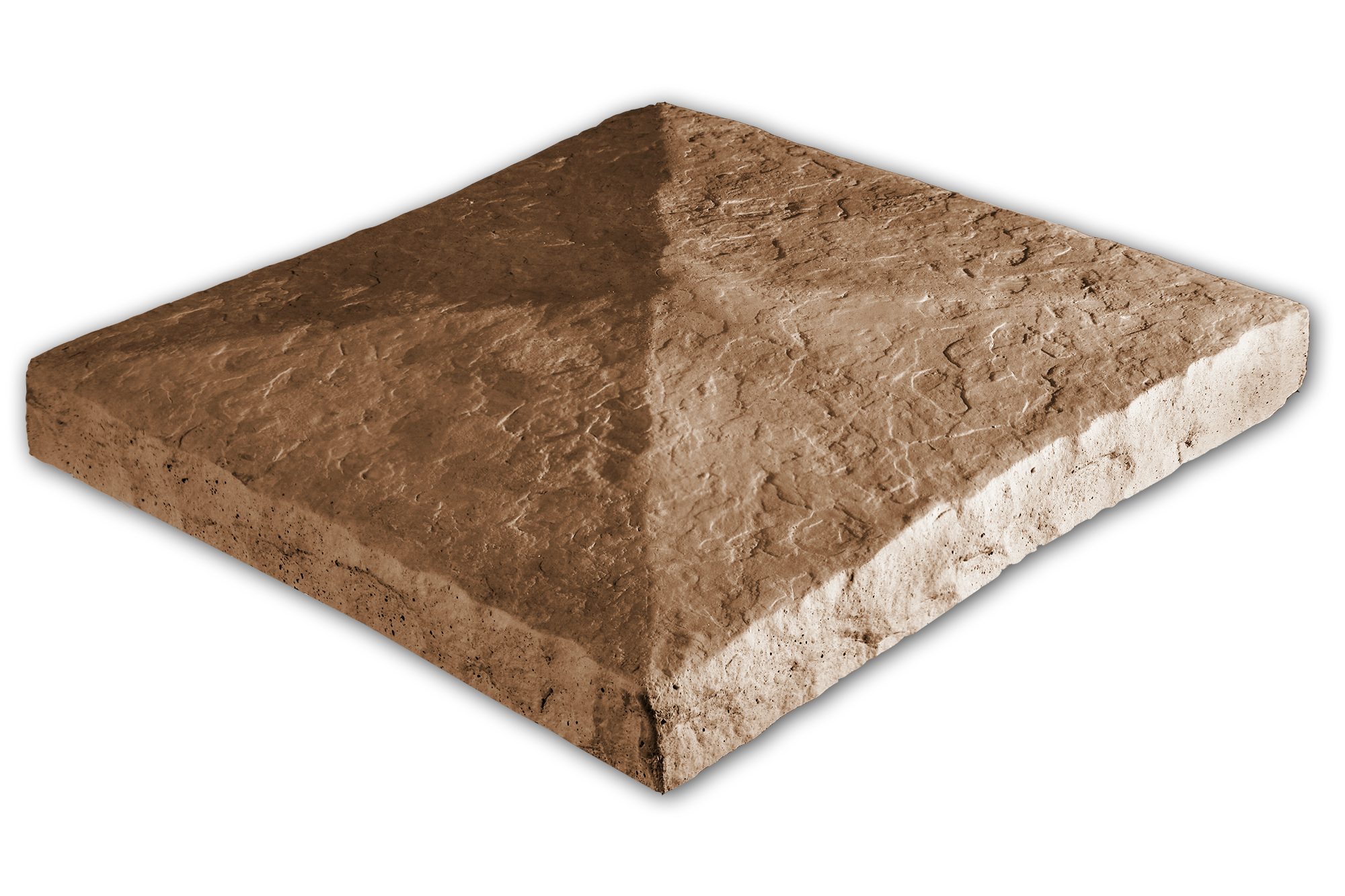 Peaked Column Cap Hazelnut 28x28x3.5